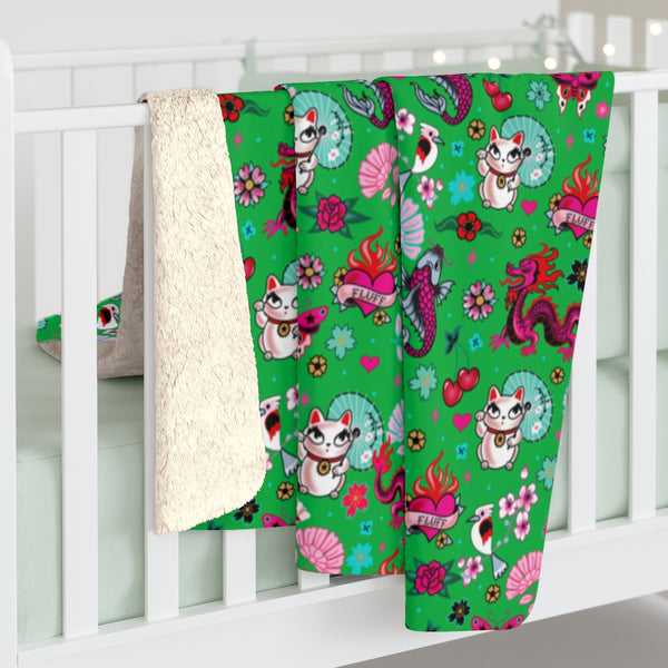 Lucky Cat on Green • Sherpa Fleece Blanket