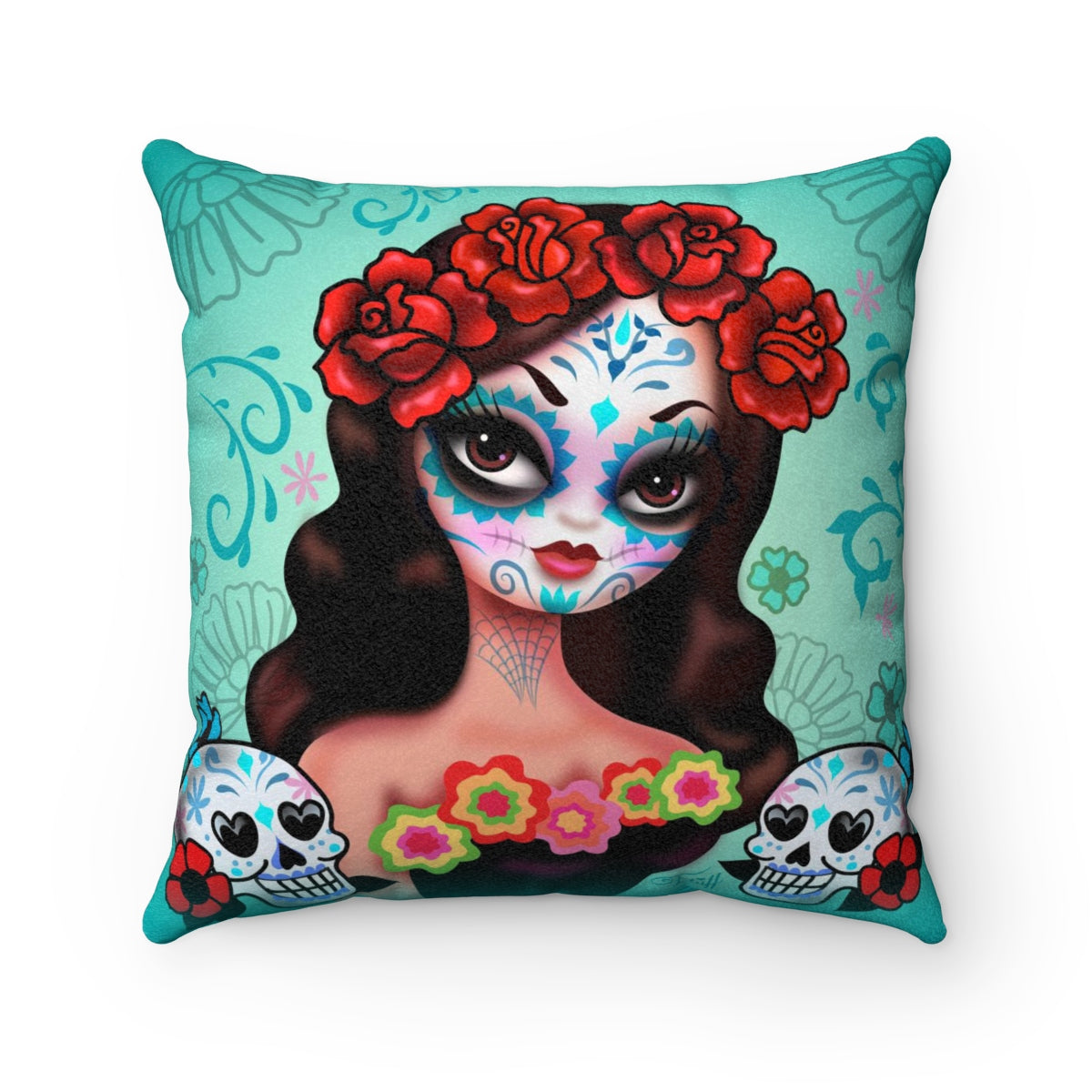 Day of the Dead Girl with Roses • Faux Suede Pillow