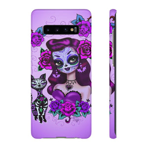 Purple Sugar Skull Girl • Samsung Galaxy Phone Case