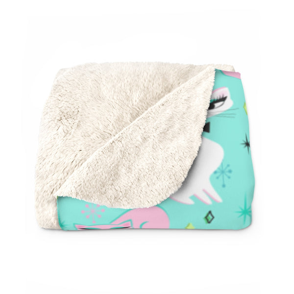 Swanky Kittens on Mint • Sherpa Fleece Blanket