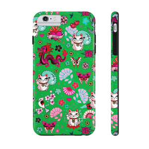 Lucky Cat on Green • Phone Case