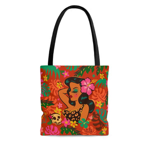 Tiki Temptress - Tropical Doll • Tote Bag