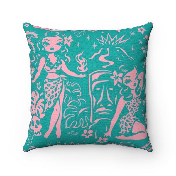 Tiki Temptress - Aqua and Pink • Square Pillow