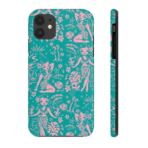 Tiki Temptress - Aqua and Pink • Phone Case