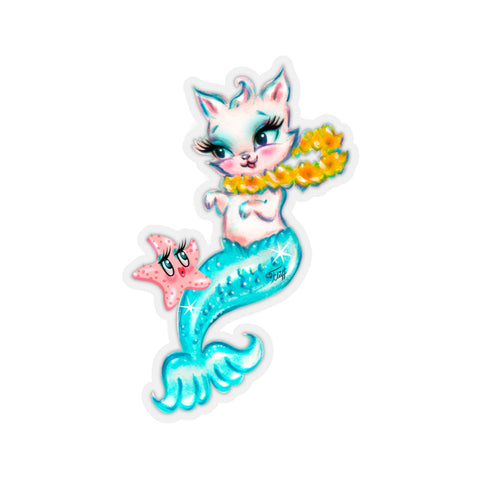 Merkitten with Lei and Starfish • Kiss-Cut Sticker