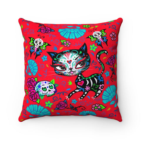 Sugar Skull Kitty on Red • Faux Suede Pillow