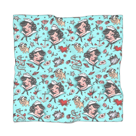 Suzy Sailor Girl on Light Blue • Chiffon Scarf