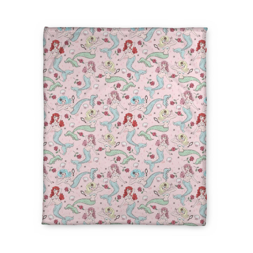 Mermaids and Roses on Pink • Fleece Blanket
