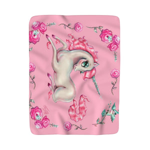 Unicorns and Roses on Pink • Sherpa Fleece Blanket