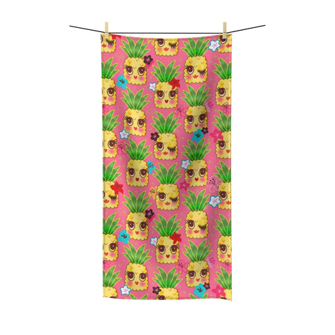 Happy Kawaii Cute Pineapples on Pink • Towel