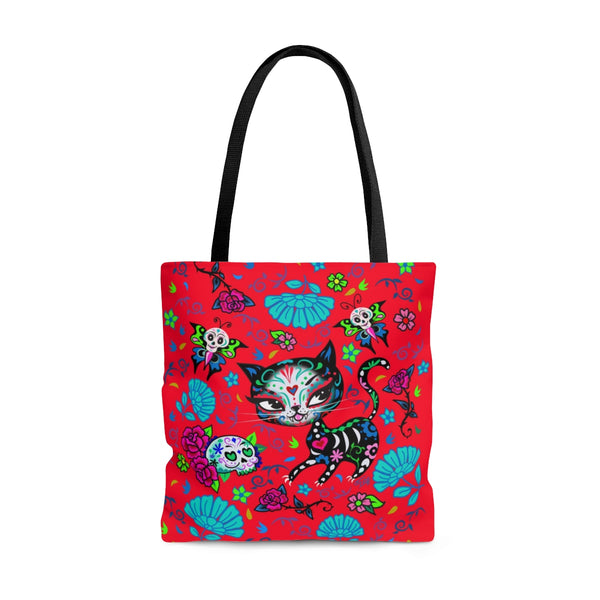 Sugar Skull Kitty on Red • Tote Bag