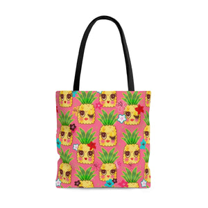 Happy Kawaii Cute Pineapples on Pink • Tote Bag