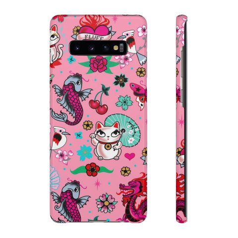 Lucky Kitty on Pink • Phone Case Samsung