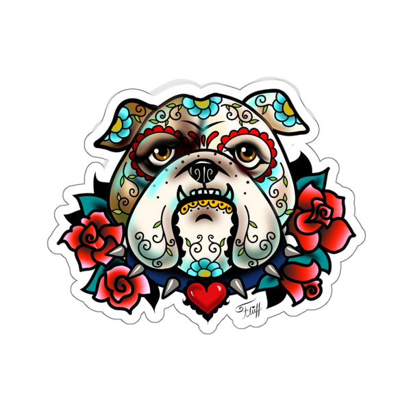 Sugar Skull Bulldog with Roses • Kiss-Cut Sticker