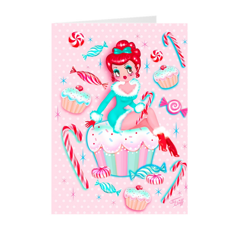 Redhead Holiday Cupcake Girl • Cards Set of 10
