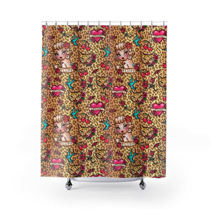 Lady Leopard Tattoo Flash • Shower Curtain