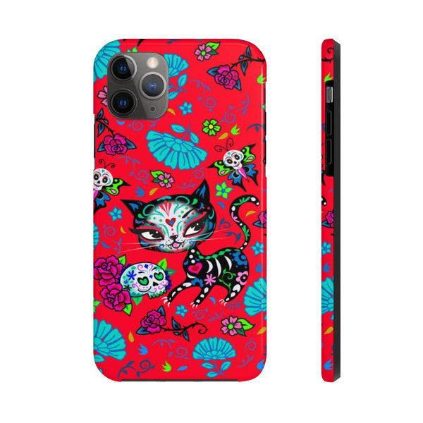 Sugar Skull Kitty on Red • Phone Case