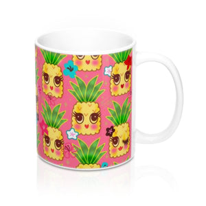 Happy Kawaii Cute Pineapples on Pink • Mug 11oz