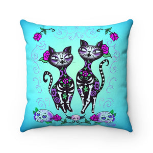 Sugar Skull Cats • Faux Suede Pillow