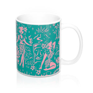 Tiki Temptress - Aqua and Pink • Mug 11oz
