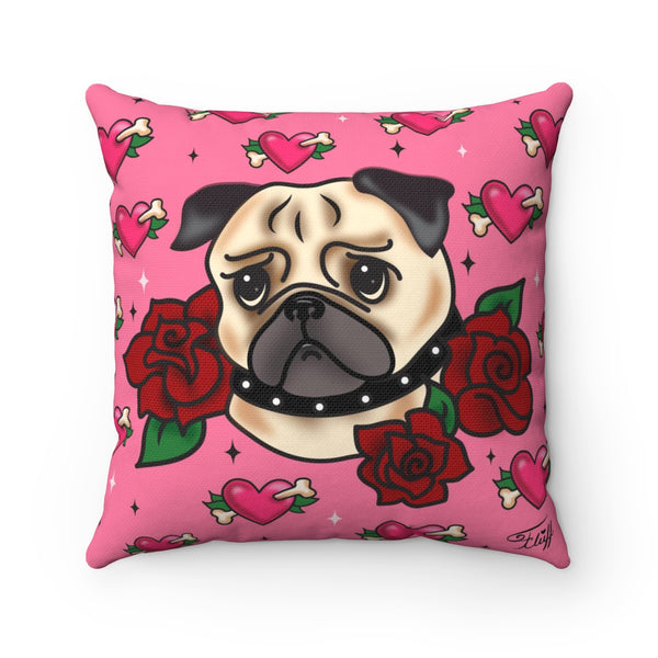 Tattoo Pug with Roses on Pink  • Square Pillow