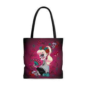 Blonde Sugar Skull Pinup Girl • Tote Bag