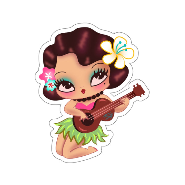 Hula Lulu Playing Ukelele • Kiss-Cut Sticker