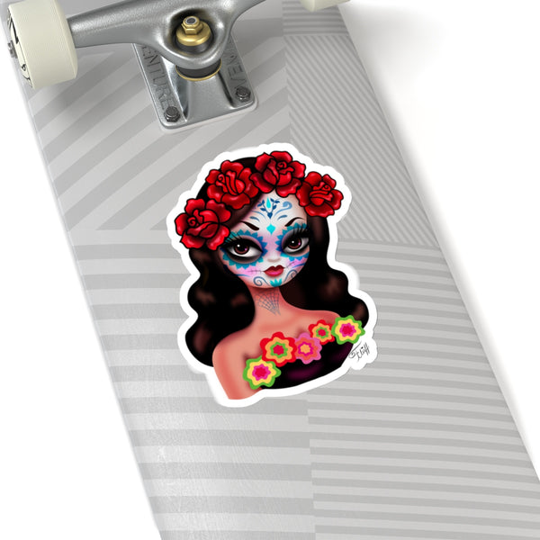 Day of the Dead• Girl with Roses • Kiss-Cut Sticker