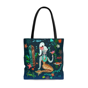 Blonde Leopard Martini Mermaid • Tote Bag