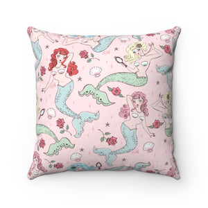 Mermaids and Roses on Pink • Square Pillow