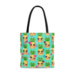Happy Kawaii Cute Pineapples on Aqua • Tote Bag