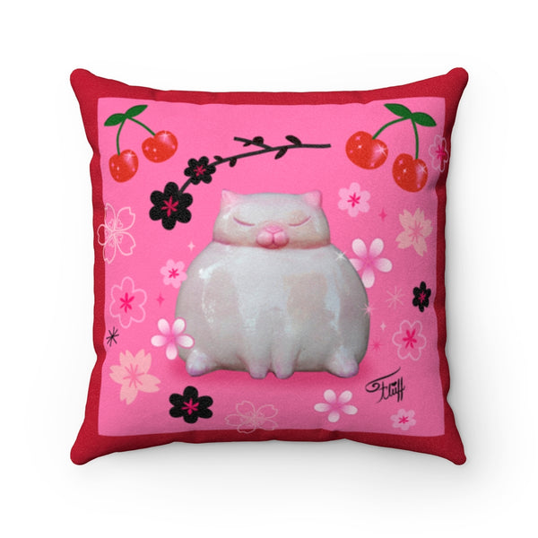 Sumo Kitty on Pink • Faux Suede Pillow