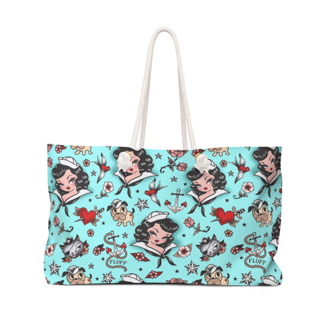 Suzy Sailor Girl on Light Blue  • Weekender Bag