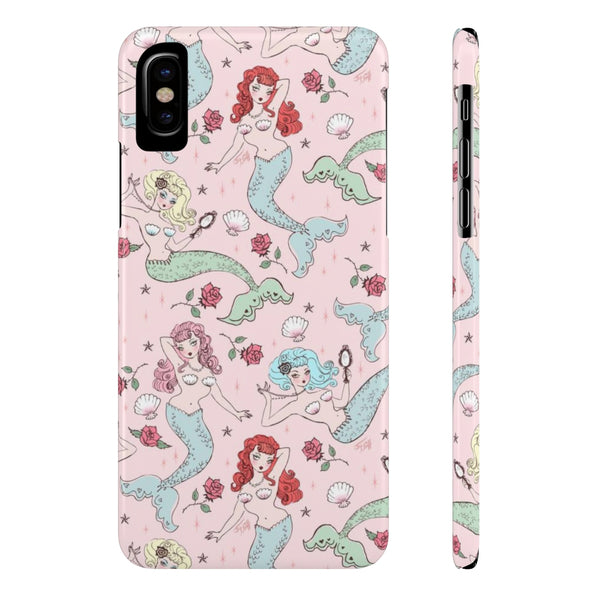 Mermaids and Roses on Pink • Slim Phone Case
