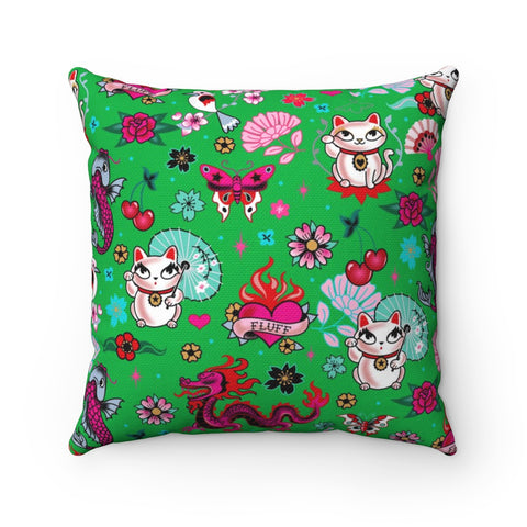 Lucky Cat on Green • Square Pillow