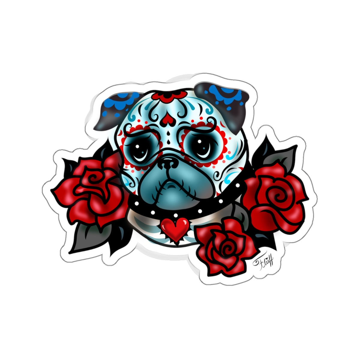 Sugar Skull Pug with Roses • Kiss-Cut Sticker