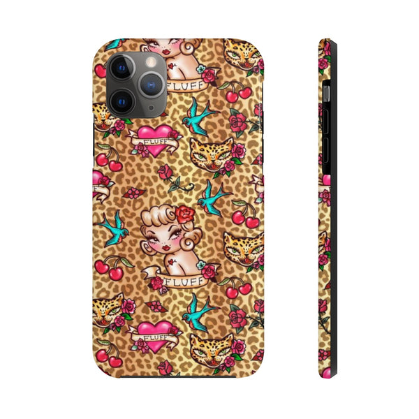 Lady Leopard Tattoo Flash • Phone Case