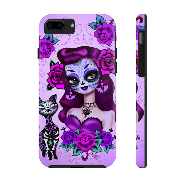 Purple Sugar Skull Girl • Phone Case