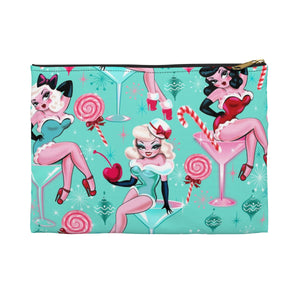 Christmas Candy Martini Pinup Girls • Carry All Pouch - Flat