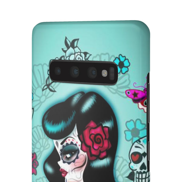 Raven Haired Day of the Dead Sugar Skull Pinup • Samsung Galaxy Phone Case