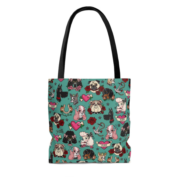 Tattoo Pooch on Teal • Tote Bag