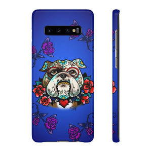Sugar Skull Bulldog With Roses • Samsung Galaxy Phone Case