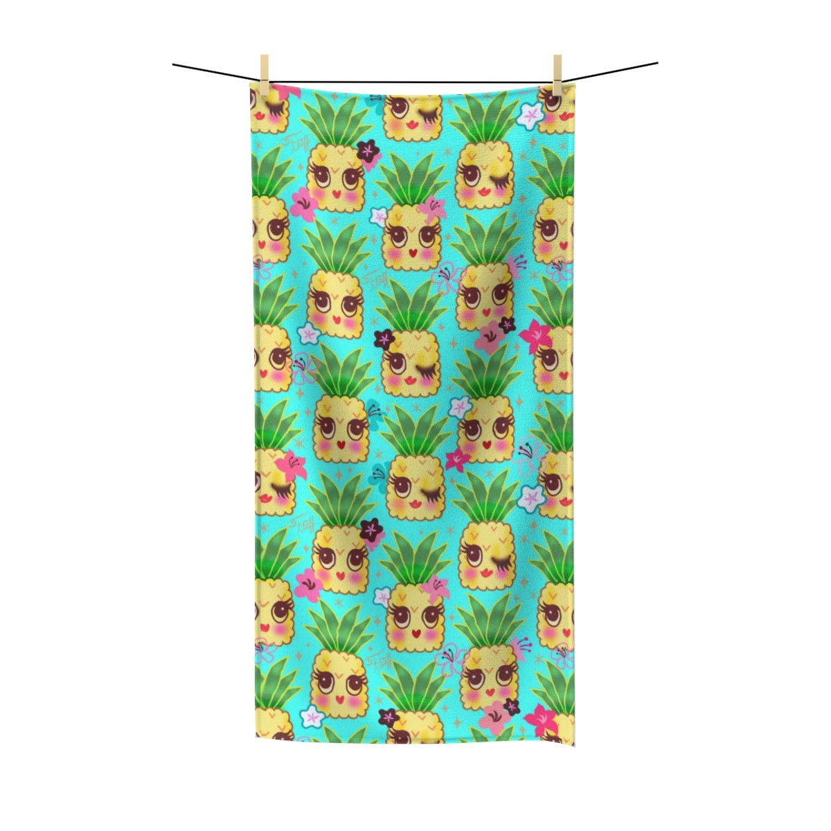 Happy Kawaii Cute Pineapples on Aqua • Towel