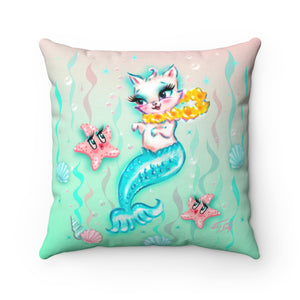 Merkitten with Lei and Starfish • Square Pillow