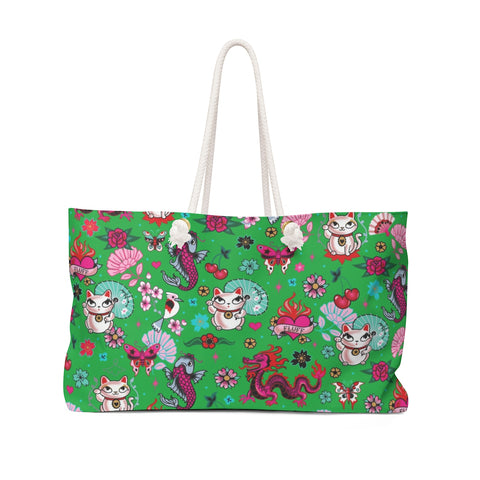 Lucky Cat on Green  • Weekender Bag
