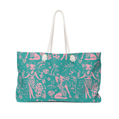 Tiki Temptress - Aqua and Pink • Weekender Bag