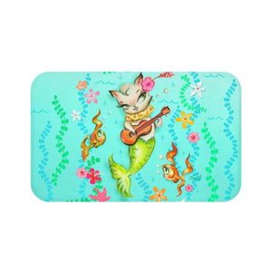 Mermaid Cat with Ukulele • Bath Mat