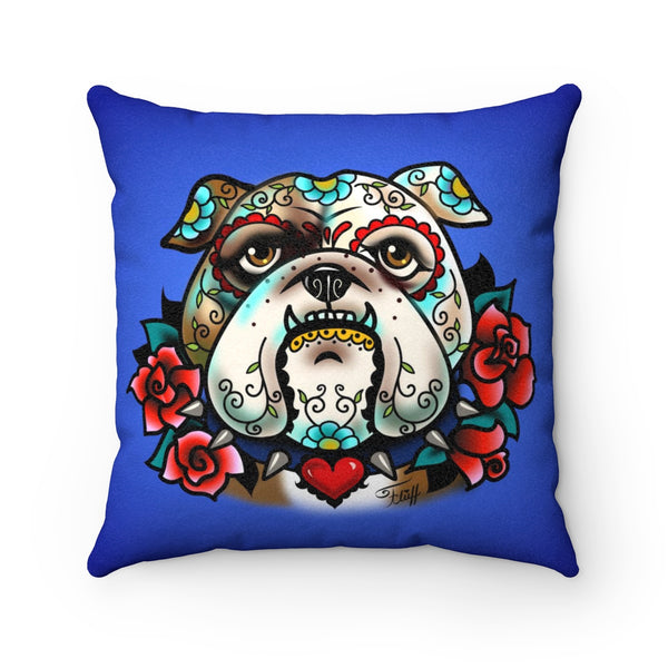 Sugar Skull Bulldog With Roses • Faux Suede Pillow