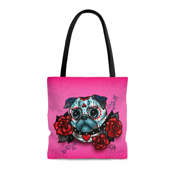 Sugar Skull Pug With Roses on Hot Pink • Tote Bag
