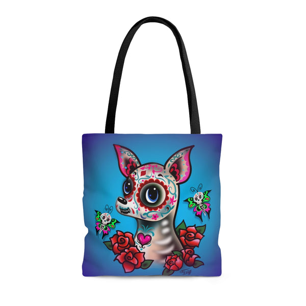 Sugar Skull Chihuahua Blue • Tote Bag